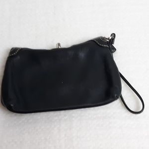 Coach Black Leather Turnlock Wristlet